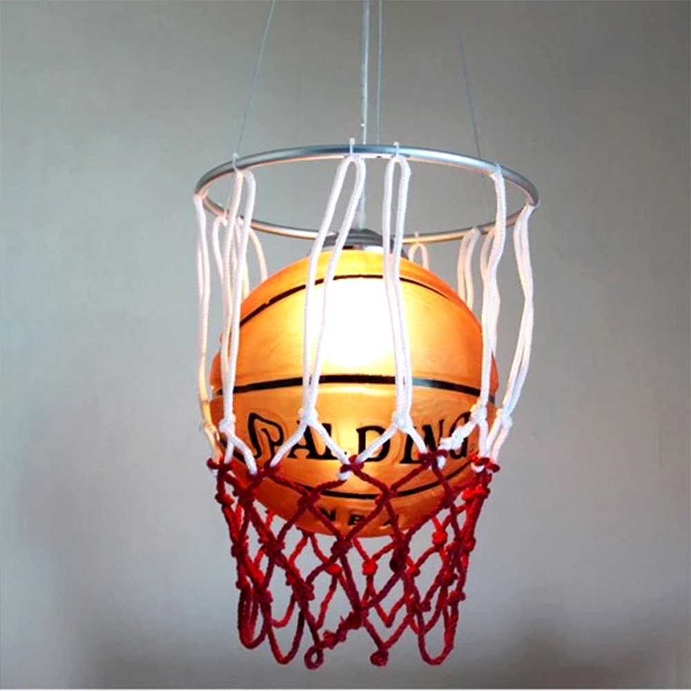 Kids Room Cartoon Basketball Glass Light Pendant Led Bulb E27 Loft Pendant Lamps 110/220V Pendant Lights for Dining Room Modern kids led pendant lights basketball football glass e27 led bulb cartoon children s room bedroom lamps lighting ems free shipping