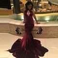Sexy Borgonha Vestido De Baile de Veludo Africano 2017 Azul Royal Longo Sereia Mulheres Formal Simples Vestidos de Festa À Noite vestido formatura