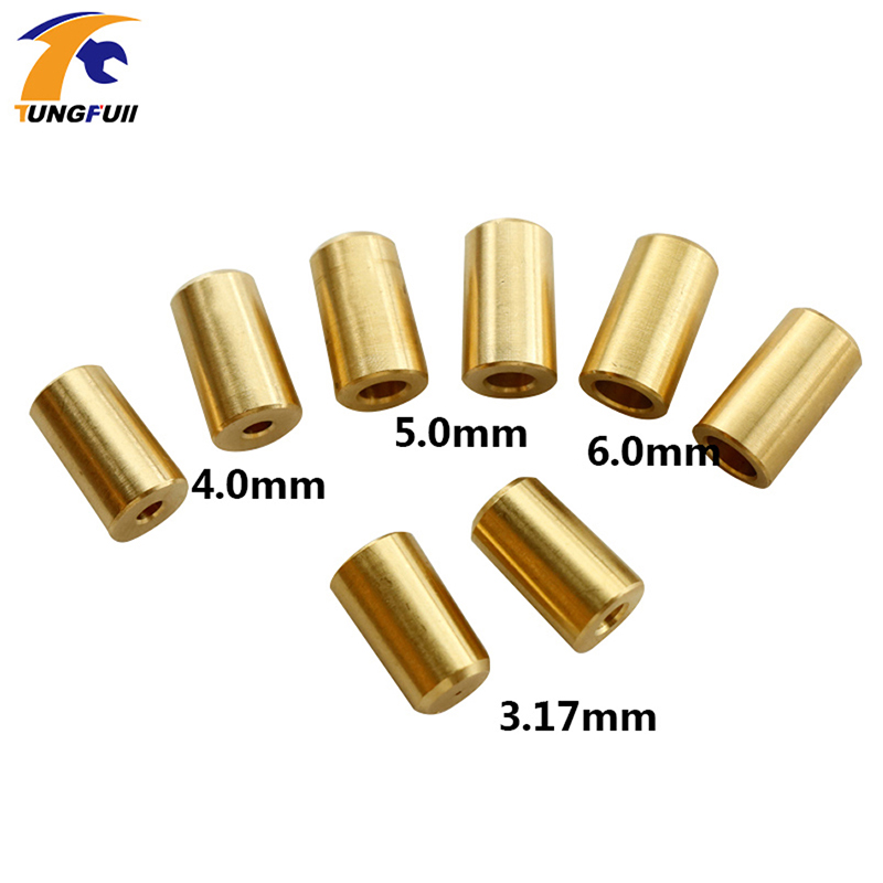 Tungfull High Quantity 2pcs Copper B10 Drill Chuck Connection Sleeve Connecting Rods For 3.17 / 4/5/6 / 8mm Motor Shaft