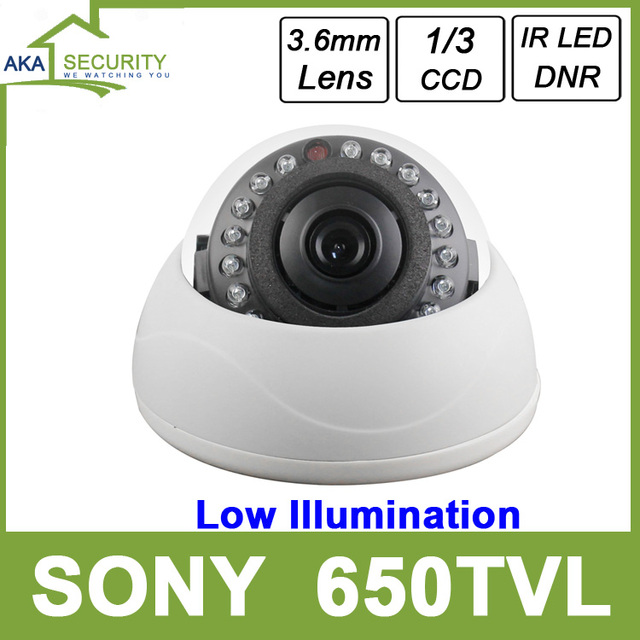 US $17 6 |Color 1/3 SONY 650TV Lines Low Illumination Indoor Dome Cameras  with DNR 3 6mm Lens Security Camera CCTV-in Surveillance Cameras from