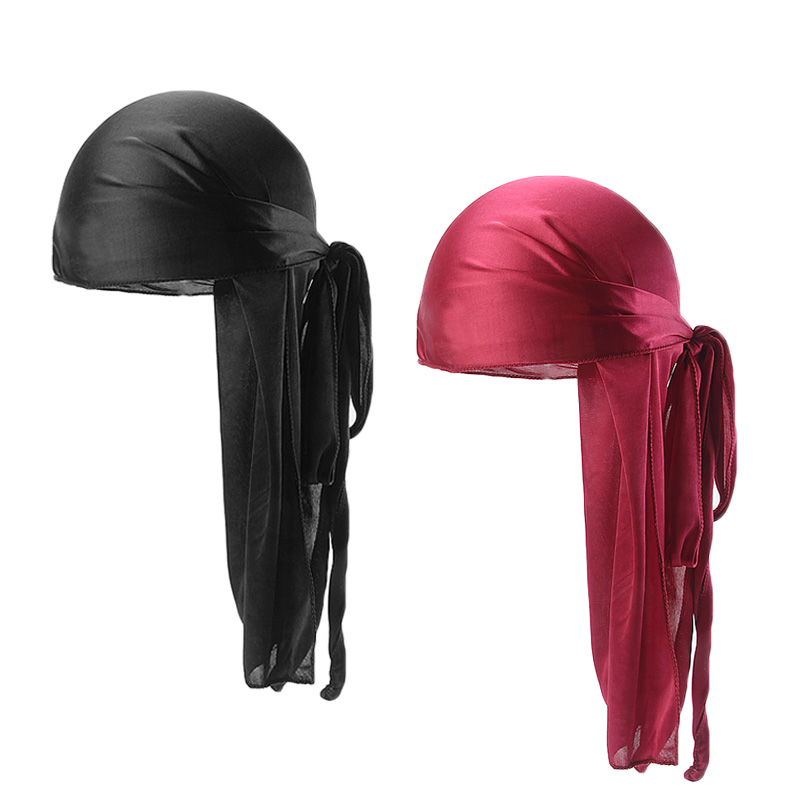 Headwear Chemo-Cap Durags Long-Tail Breathableturban Women Doo Rag Solid Silk 2pcs/Lot