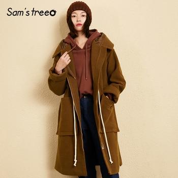 Samstree Winter Wool Coat Women Hooded Coat Waist Drawstring Solid Color Pocket Female Blends Harajuku Extra Long Coat