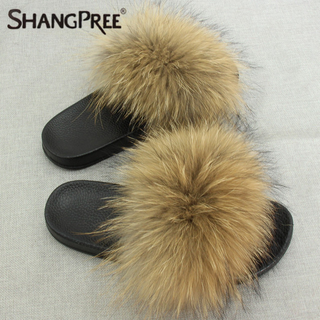 SHANGPREE Donna Slippers Ladies Cute Plush Fox Hair Fluffy Slippers Donna Fur Slippers Ladies indoor outdoor slippers in Slippers from scarpe on ...