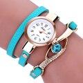 Mance marca de relojes de señora 2016 Mujeres de La Manera del diamante relojes pulsera Del Abrigo Alrededor de Cuero Artificial de Cuarzo Reloj de pulsera montre femme