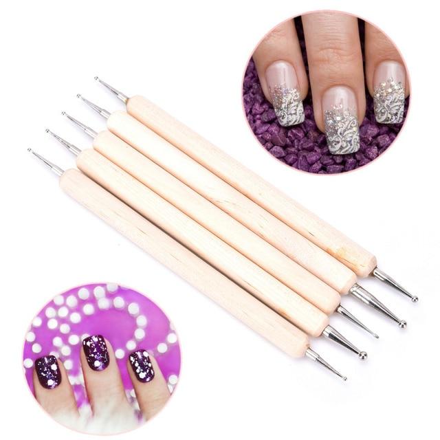 5 Pcs/lot Professional 2 Way Nail Art Wood Pen DOTTING Marbleizing ...