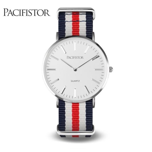 PACIFISTOR Quartz Relógios de Pulso Marca de Luxo Moda Casual Relógios Tecido Strap Mulheres Relógio Relogio feminino Relógio Ultra Fino