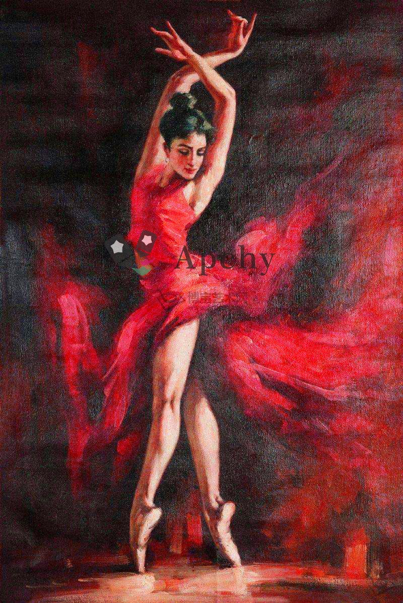 online shop spanish flamenco dancer in red dress oil painting on