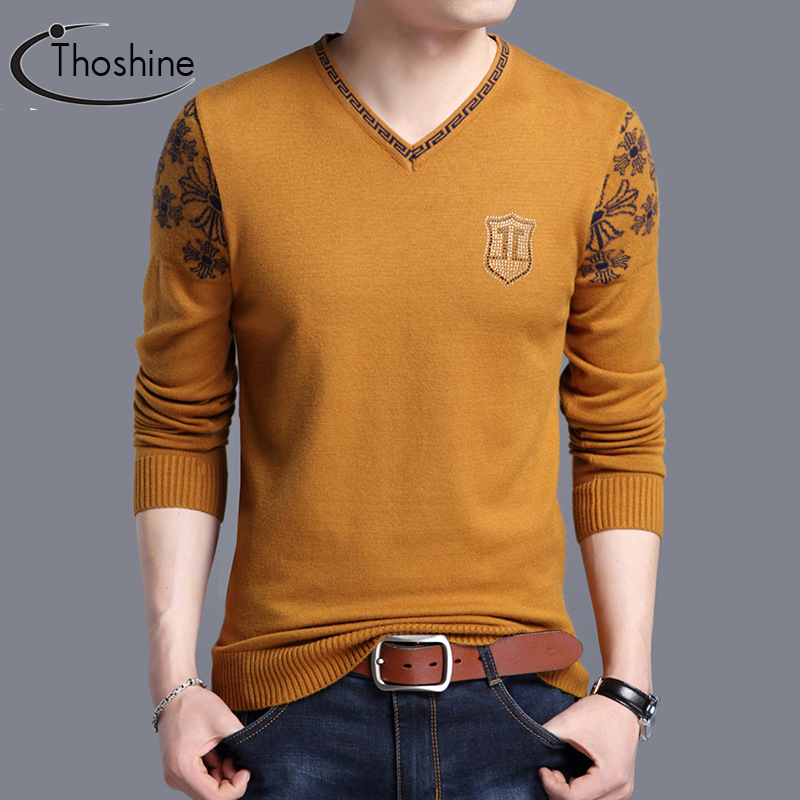 Thoshine Brand Spring Autumn Style Men Knitted Sweaters V-Neck Pattern Casual Wool Pullovers Solid Color Male Streetwear Jumpers
