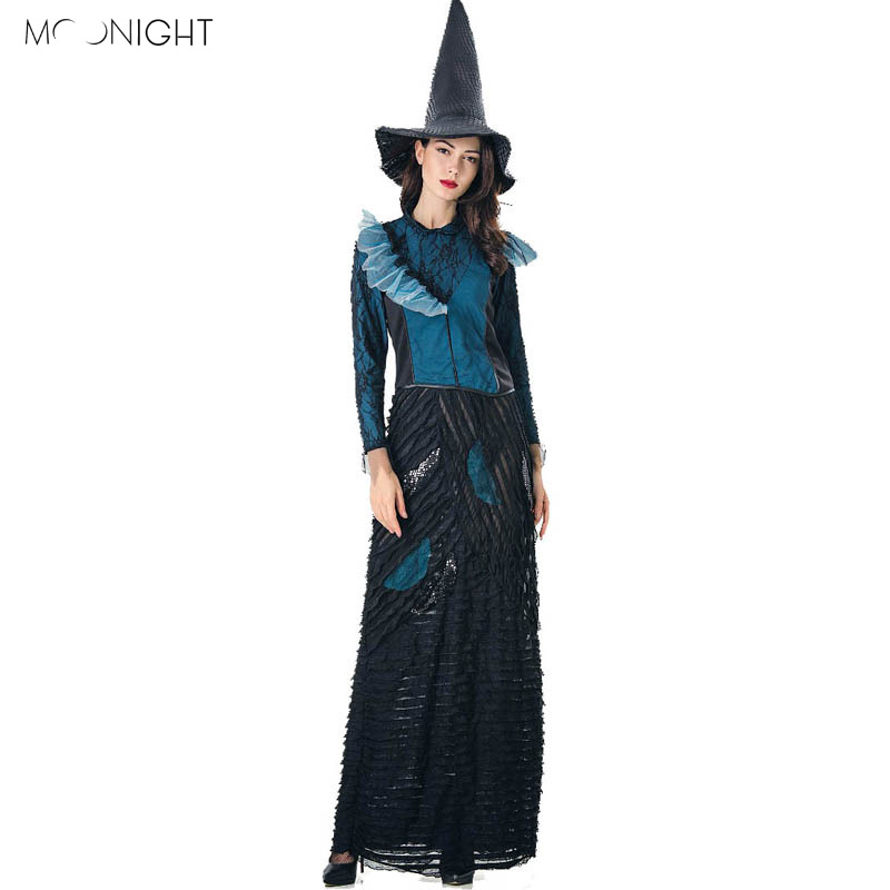 MOONIGHT Sexy Witch Costume Deluxe Adult Women Halloween Cosplay Witch Costume For Women Halloween Carnival Fancy Dress With Hat