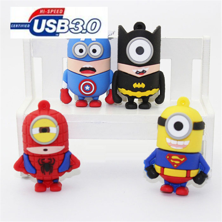 @minion super hero man USB 3.0 usb flash drives thumb pendrive u disk usb creativo memory stick 4GB 8GB 16GB 32GB 64GB LLM23