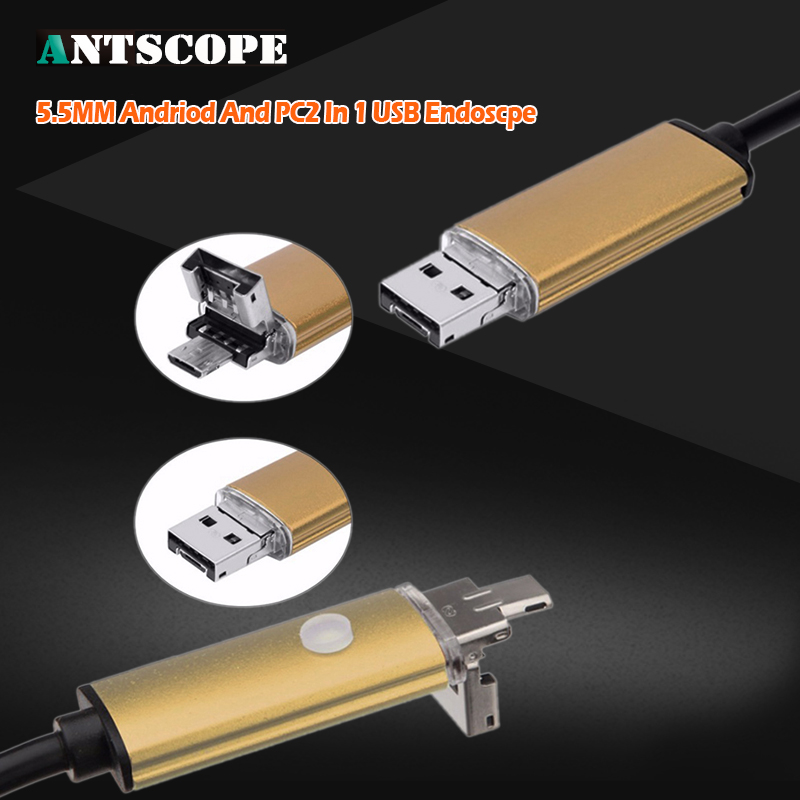 Antscope Gold 2m 5m 10m 2IN1 Android Endoscope Camera Endoscopic Snake Tube Cameras Android PC Boroscope Inspection Mini Camera bullet camera tube camera headset holder with varied size in diameter