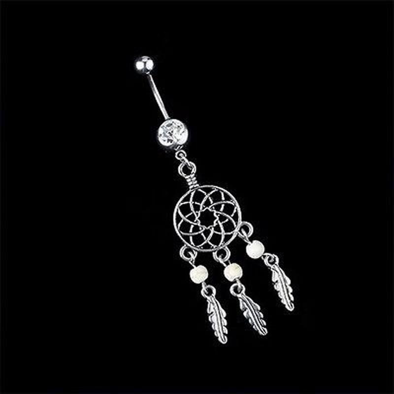 HTB1Ery6PVXXXXXLXVXXq6xXFXXXE Sexy Fashion Crystal Dream Catcher Dangle Belly Button Ring For Women - 3 Colors