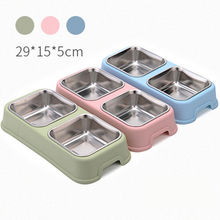Double Pet Cat Food Water Feeder Bowls Feeding Watering Supply Kitten Accessory Stainless Product Inox Waterer Rabbit Drinker
