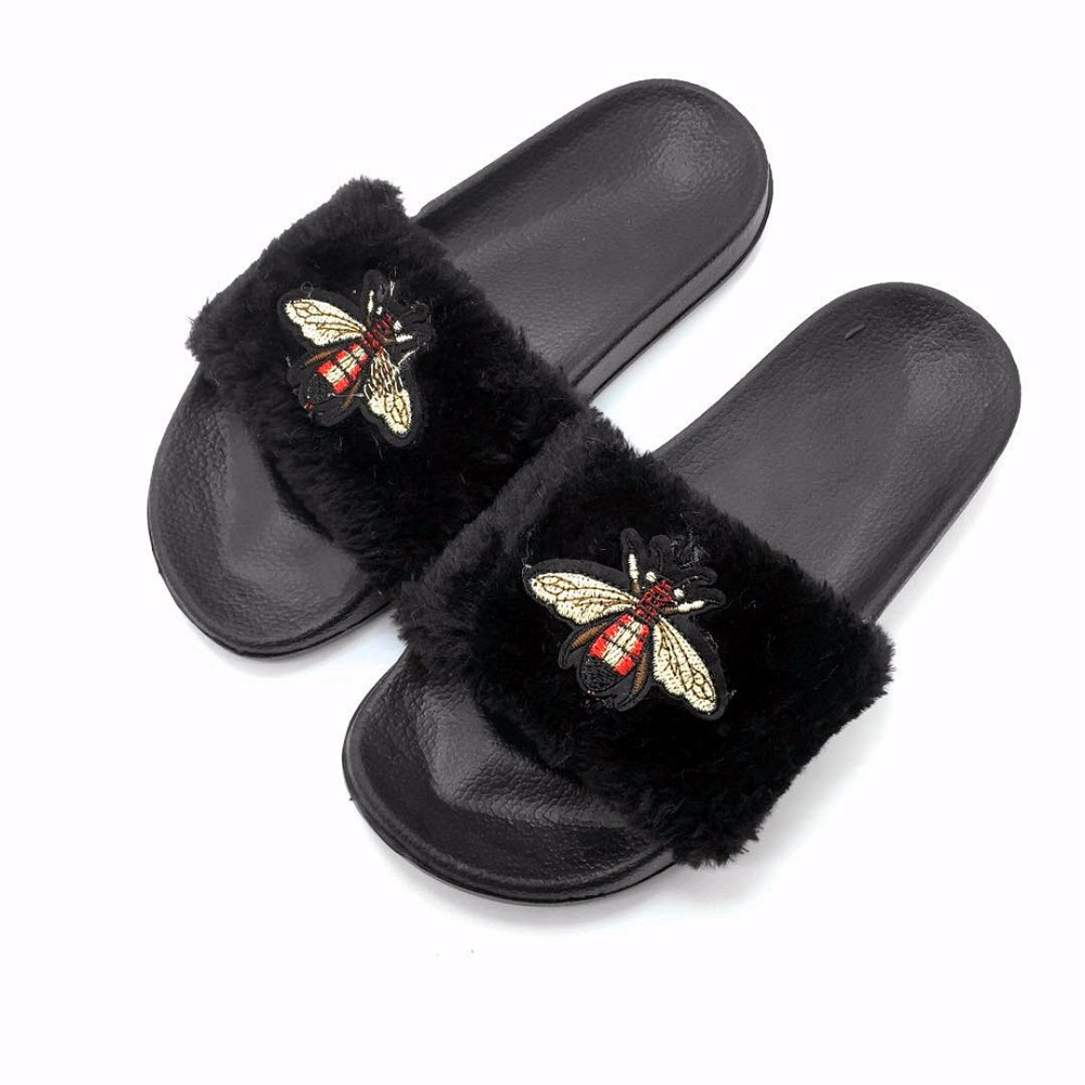AoXunLong New Bee Slippers Womens Slides Moda Furry Red Home Slippers - Zapatos de mujer - foto 5