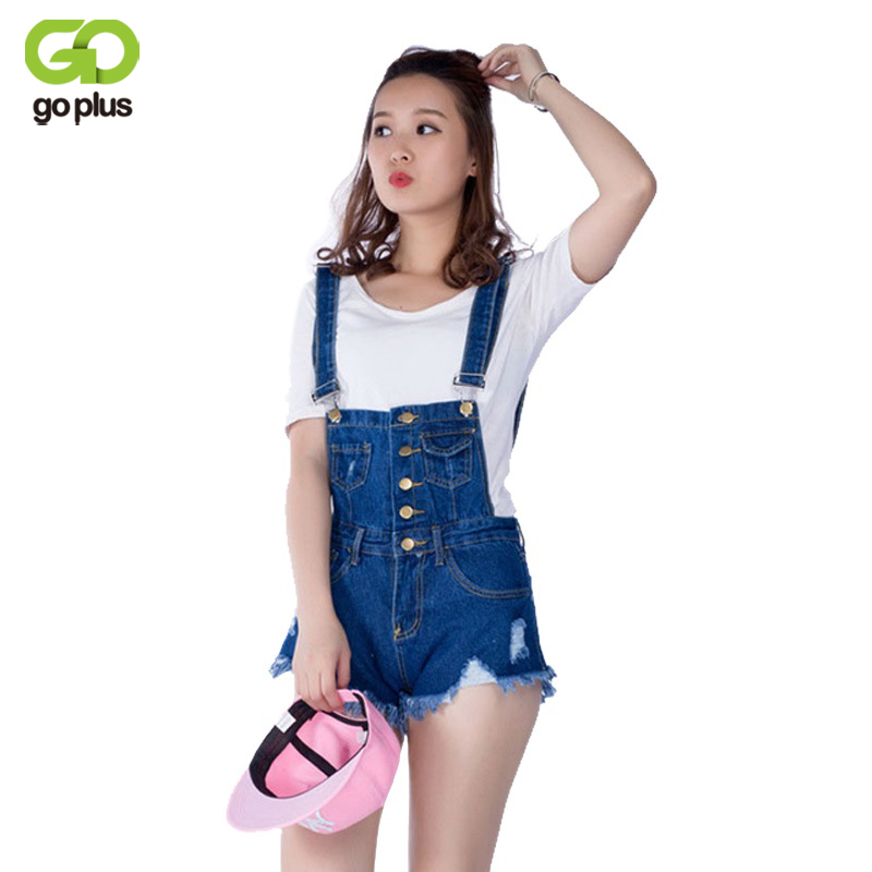 цена на GOPLUS Candy Color White Black Blue Jeans Shorts Overalls Slim Casual Summer Hole Denim Bodysuit Women Loose Simple Jumpsuit