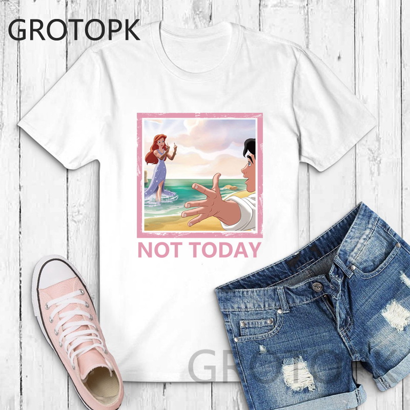 Harajuku T-Shirt Prince Mermaid Not-Today Funny Aesthetic Kawaii Plus-Size Cotton Women