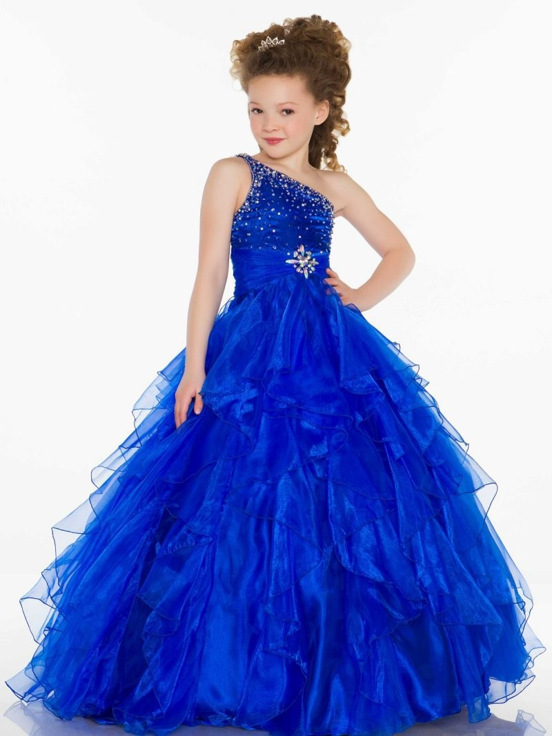 One Shoulder Crystal Cheap Girls Pageant Dresses Kids Ball Gowns ...