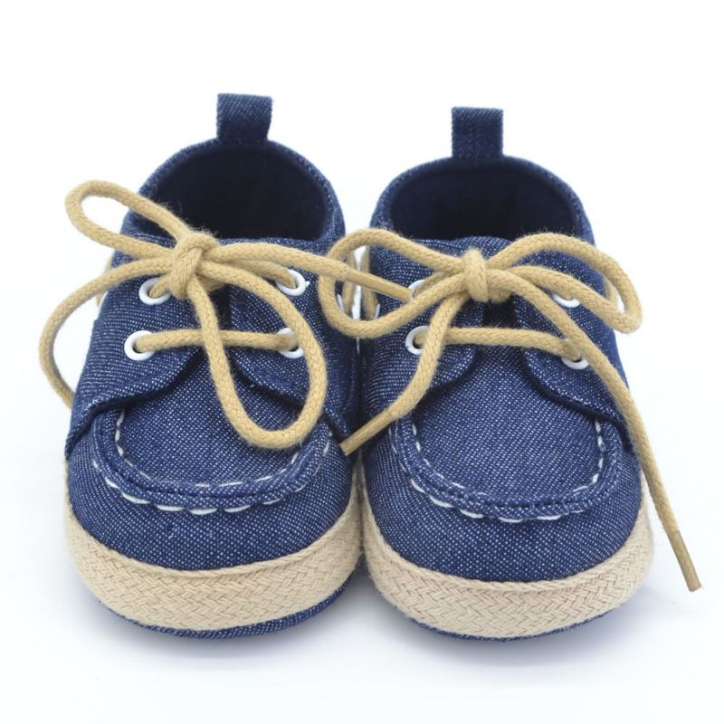 New Toddler Baby Girl Boy Soft Sole Crib Shoes Laces ...