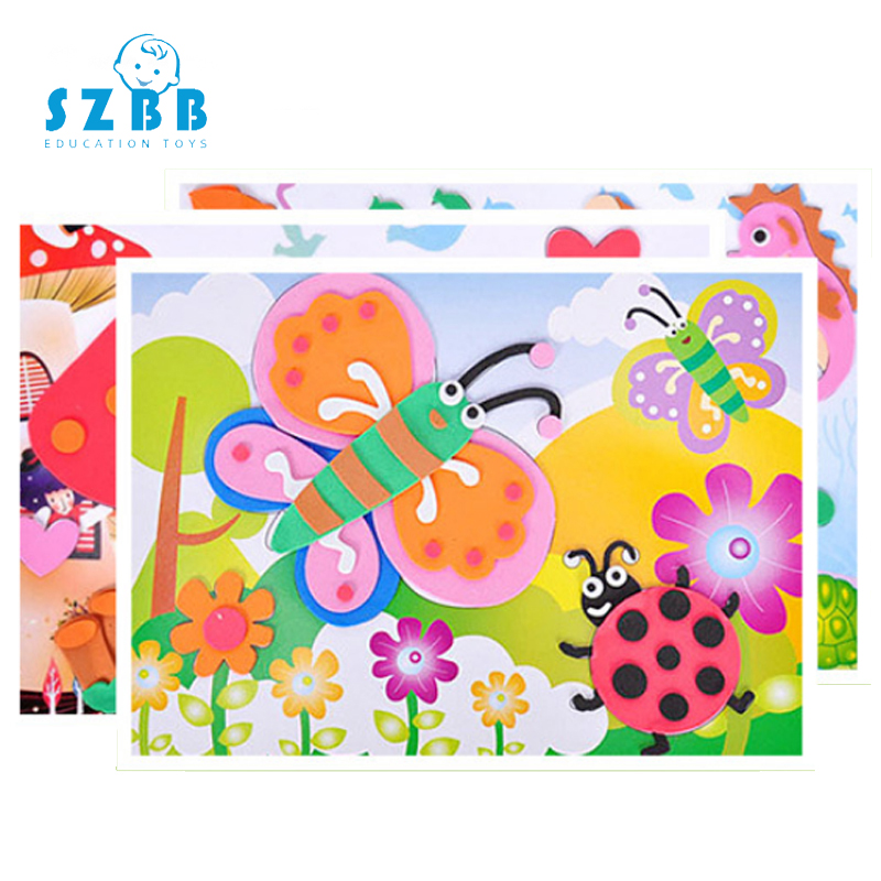 SZ STEAM 1pcs Kids DIY EVA  3D Stickers Toys Funny Game Handmade School Art Class Craft Kit Educational