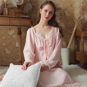Image 3 - Dài Bông Trắng Cổ V Gợi Cảm Ngủ Đêm Áo Mặc Nhà Vintage Váy Ngủ Công Chúa Đồ Ngủ 2020 Nữ Váy Ngủ T350