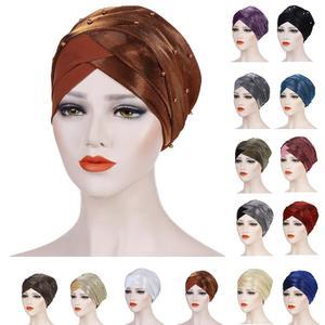 Image 1 - Müslüman kadınlar boncuk başörtüsü elastik türban şapka kemo kanseri kap arap başörtüsü Wrap kapak başörtüsü İslam bandanalar aksesuarları