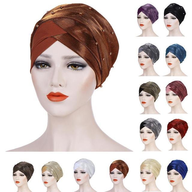 Müslüman kadınlar boncuk başörtüsü elastik türban şapka kemo kanseri kap arap başörtüsü Wrap kapak başörtüsü İslam bandanalar aksesuarları