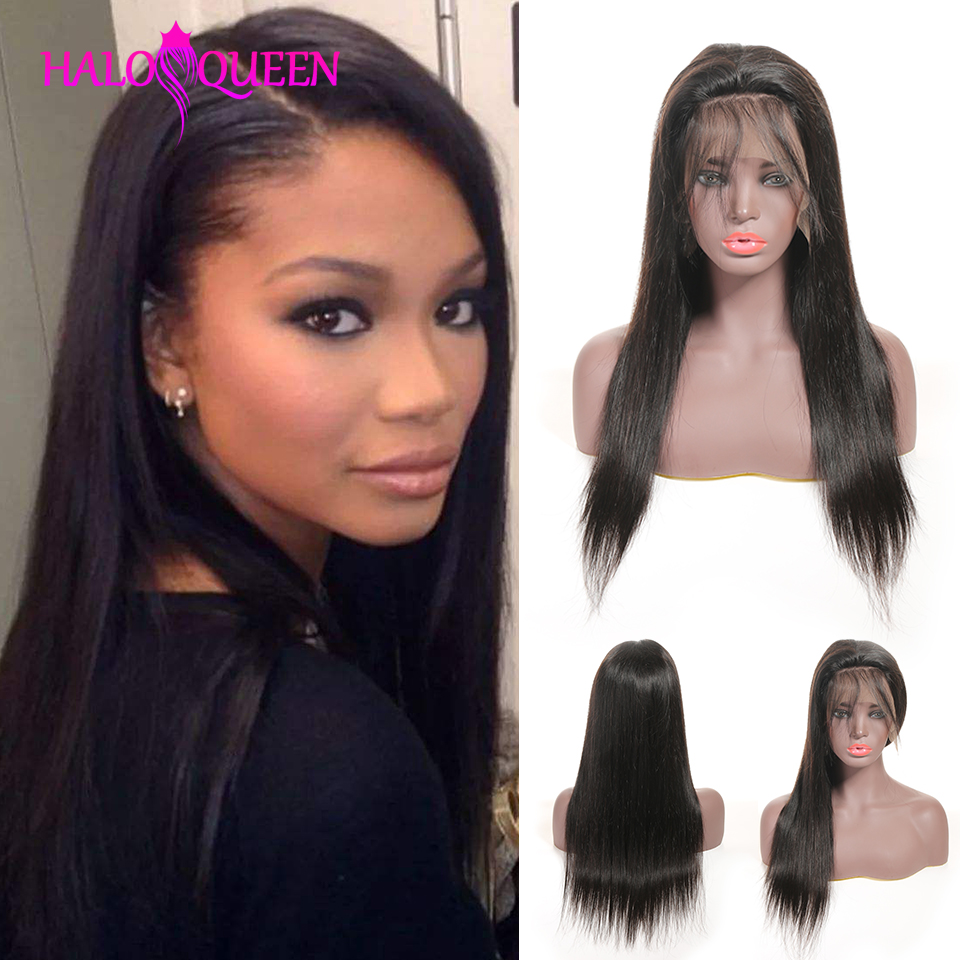 HALOQUEEN 13X4 Lace Closure Peru Human Hair Wigs Straight Pre Plucked Baby Hair 8- 22 Inch Non Remy Human Hair Lace Closure Wigs