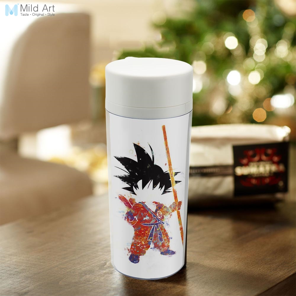 Personalized BPA Free Plastic Insulated Watercolor Japanese Anime Pop Cartoon Movie Dragon Goku Boy Kids Water Bottle 300ml Gift|bpa free|water bottle|kids water bottle - title=