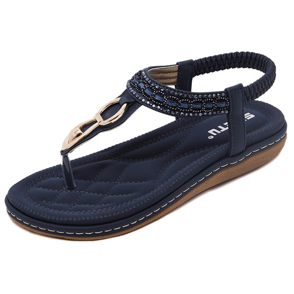 SIKETU D été Plat Sandales Dames Bohême Plage Flip Flops Chaussures  Gladiateur Femmes Chaussures Sandales plate forme Clip orteil chaussures  bleu 35 dans ... 265372fc639c