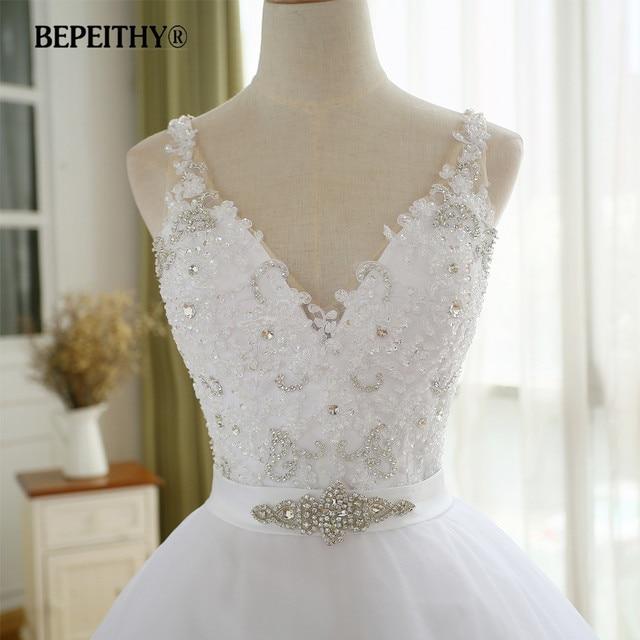 BEPEITHY V Neck Vintage Wedding Dress With Belt Vestido De Novia Casamento Beadings Bridal Gowns 2021 Ball Gown 4