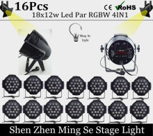 New Store 16pcs 18x12w led Par lights RGBW 4in1led dmx512 disco lights professional stage dj equipment