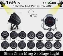 Новый Магазин 16 шт. 18×12 Вт led Par света RGBW 4in1led dmx512 диско свет профессиональной сцене dj оборудование