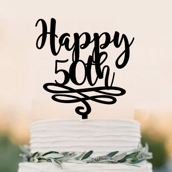 Acrylic Happy 50th Cake Topper50 Years Anniversary Toppercutsom Milstone Topper