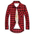 Мужчины Плед Рубашки Новая Осень Роскошные Тонкий С Длинным Рукавом Марка Деловых Платье Теплые Рубашки