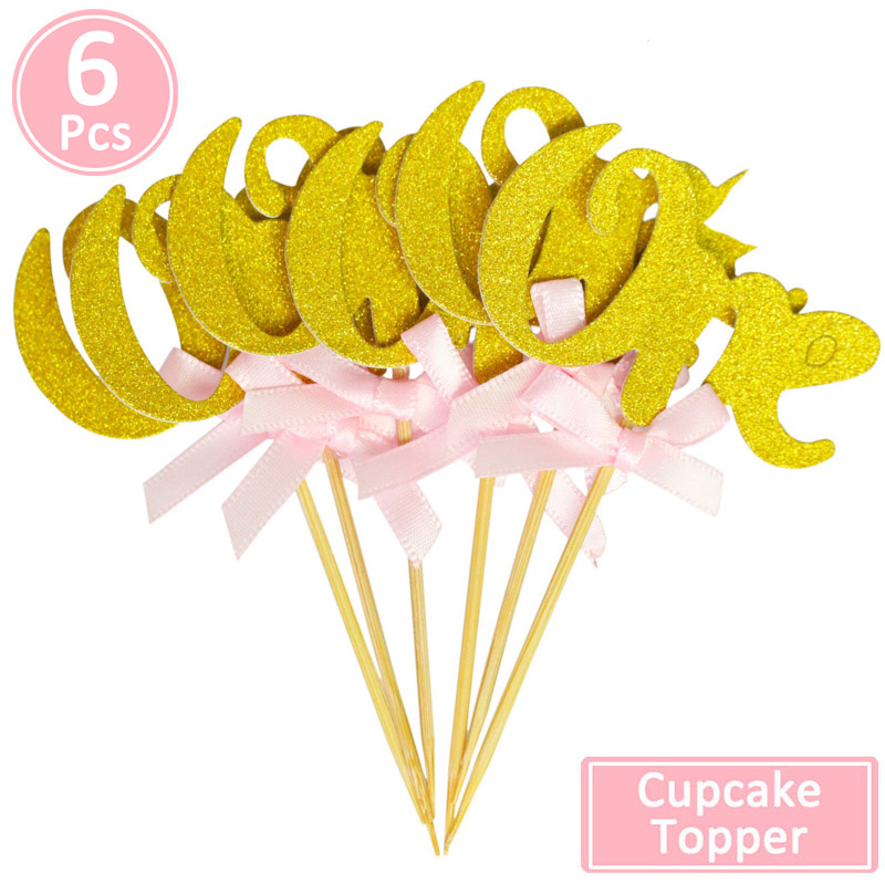 Image 2 - 6pcs One Glitter Paper Cupcake Toppers 1st Birthday Party Decorations First Baby Boy Girl My 1 Year I am One Supplies-in Ballons & Accessories from Home & Garden