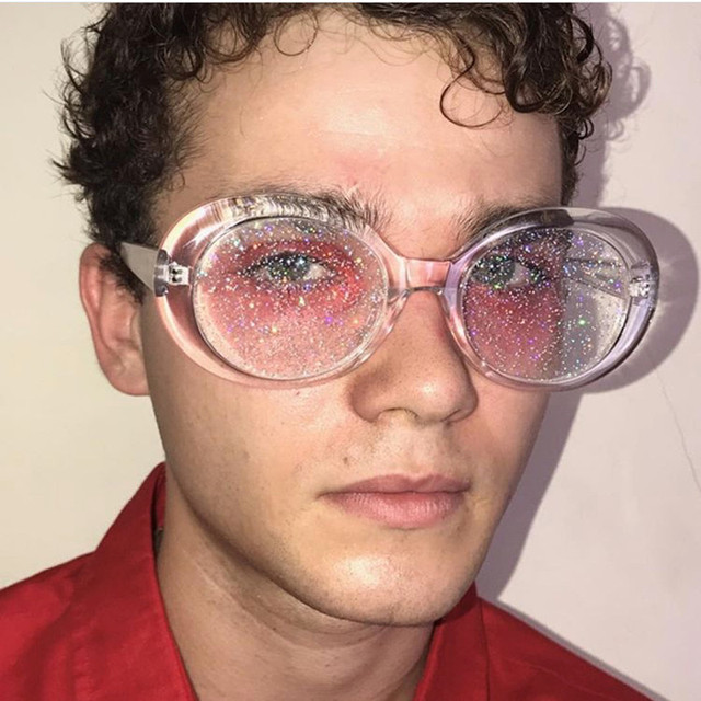Sunglasses Women Men Oval Sun Glasses Glitter Lenses Eyewear Candy Colorful Classic Transparent Frame UV400 Shades