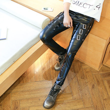 2017 autumn wear men's leather pants thickening leisure tight foot trousers Young motorcycle pants