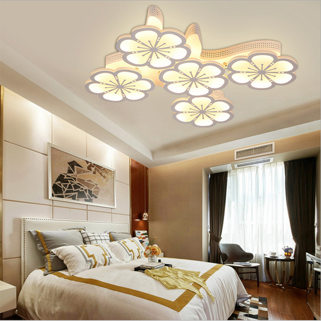 FULOC  Modern  for living room bedroom AC85-265V White Ceiling Lamps Acrylic Aluminum Fixtures