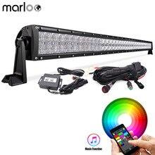 """Marloo Carro 52 """"300 W LED RGB Barra de Luz Off Road Luzes de Condução Bluetooth App 5D com Cablagem Para Jeep ATV Veículo UTV"""