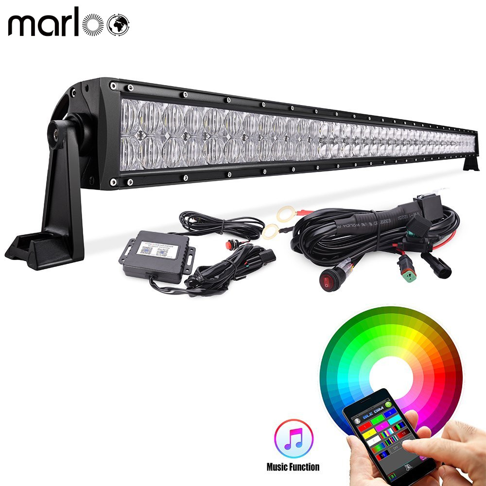 Marloo Car 52 300W LED Light Bar RGB Off Road Driving Lights Bluetooth App 5D with Wiring Harness For Jeep Vehicle ATV UTV