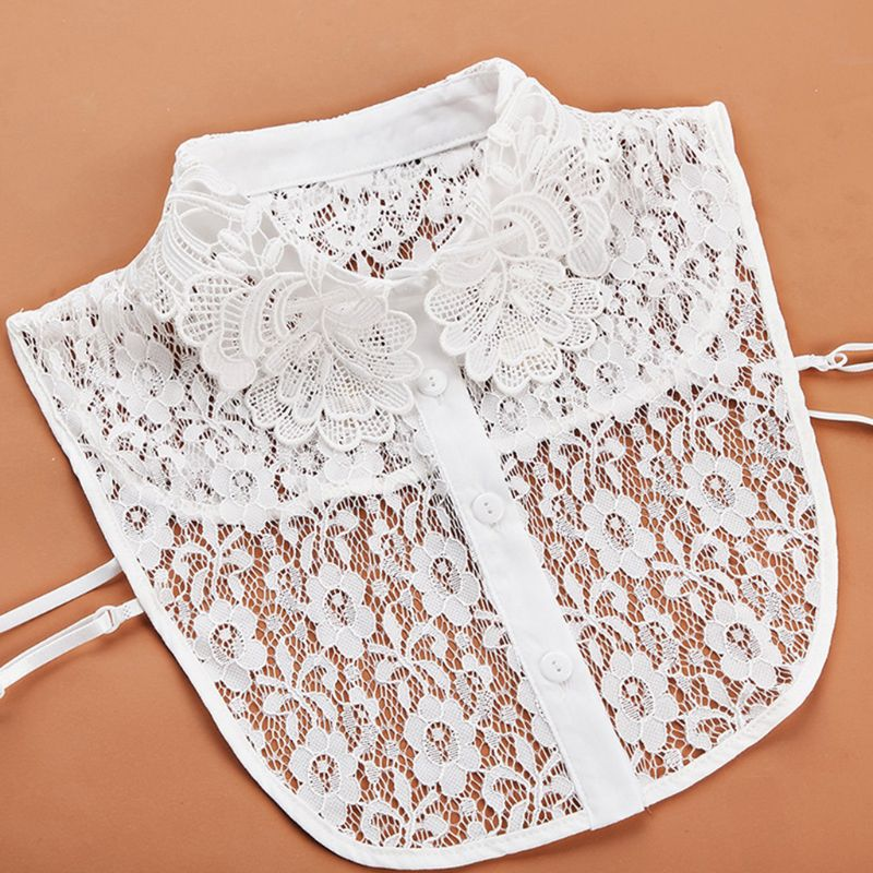 Women Blouse Sweater Round Neck Fake False Collar Detachable Sheer Embroidered Lace Half Shirt Tie Button Apparel Adjustable