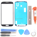 For Samsung Galaxy S4 i9500 i9505 Screen Replacement Front Glass Lens & UV LOCA Glue & Adhesive Tape & Tools Repair Kit ~ Black
