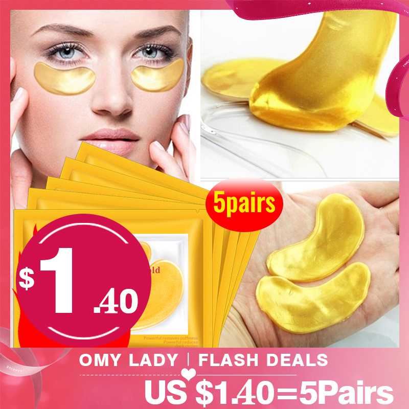 OMYLADY 10pcs=5pack Gold Masks Crystal Collagen Eye Mask Anti-Wrinkle Eye Patches For The Eye Face Mask Remove Black Eye Care(China)