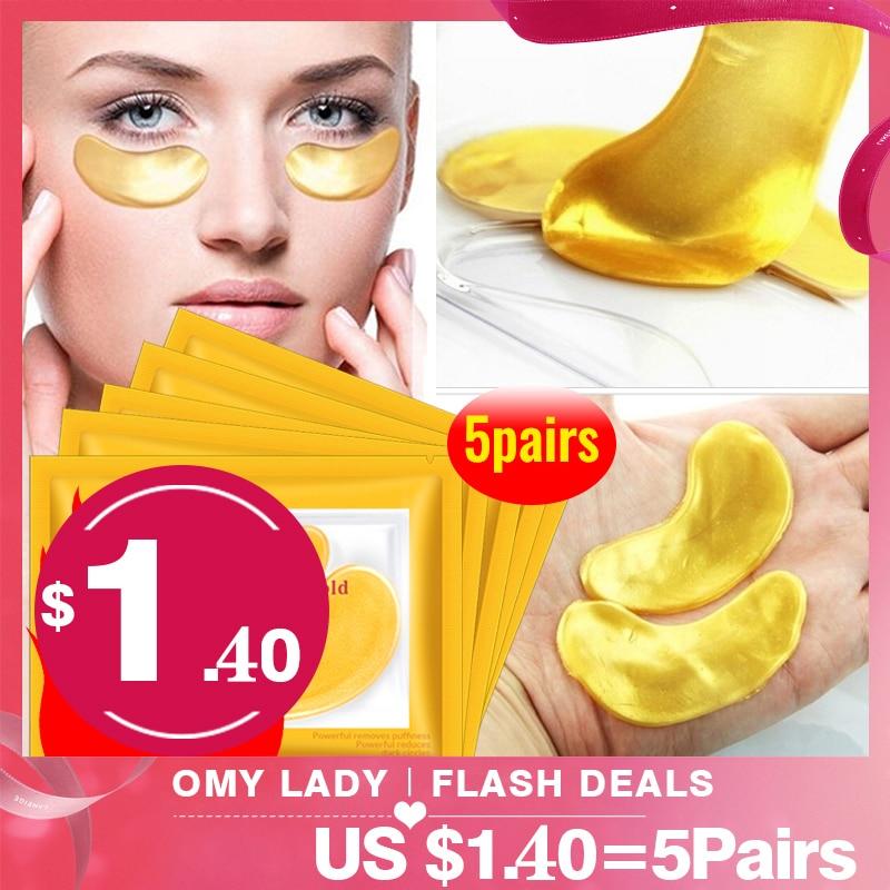 OMYLADY 10pcs=5pack Gold Masks Crystal Collagen Eye Mask Anti-Wrinkle Eye Patches For The Eye Face Mask Remove Black Eye Care(China)