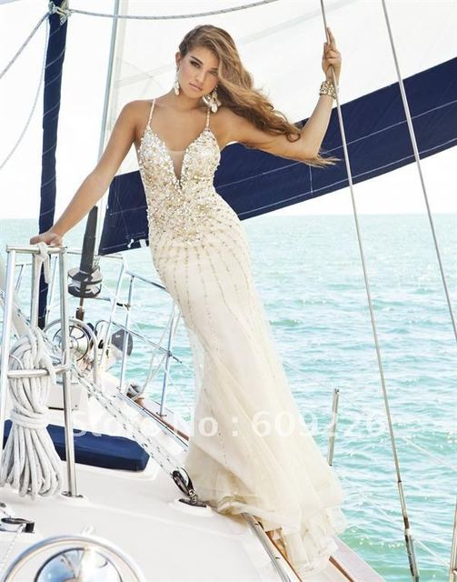 Hot Sell ! A line Spaghetti Strap Champagne Tulle Gorgeous Prom ...