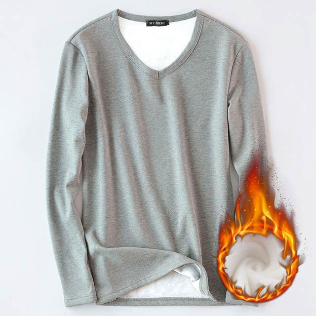 Classic Cotton Mens O Neck Undershirt Solid Bottoming shirt Singlet Soft Comfortable Thermal fleece Underwear Man Basic Clothing