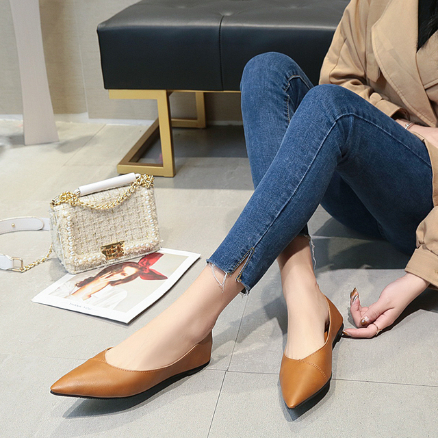 2019 Spring black soft leather shoes women larger sizes 40 ballet flats pointed toe shallow mouth slip-on ladies loafer n600 1