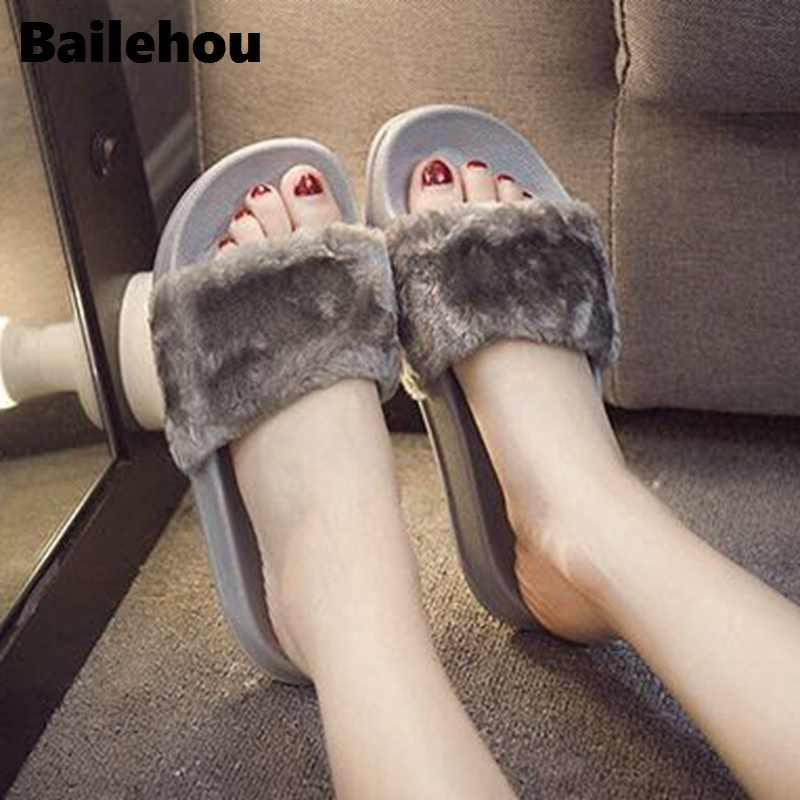 Bailehou Nieuwe Mode Schoeisel Vrouwen Platte Slippers Zachte Bont Slip Slides Indoor Outdoor Slippers Toevallige Platte Platform Schoenen Zwart