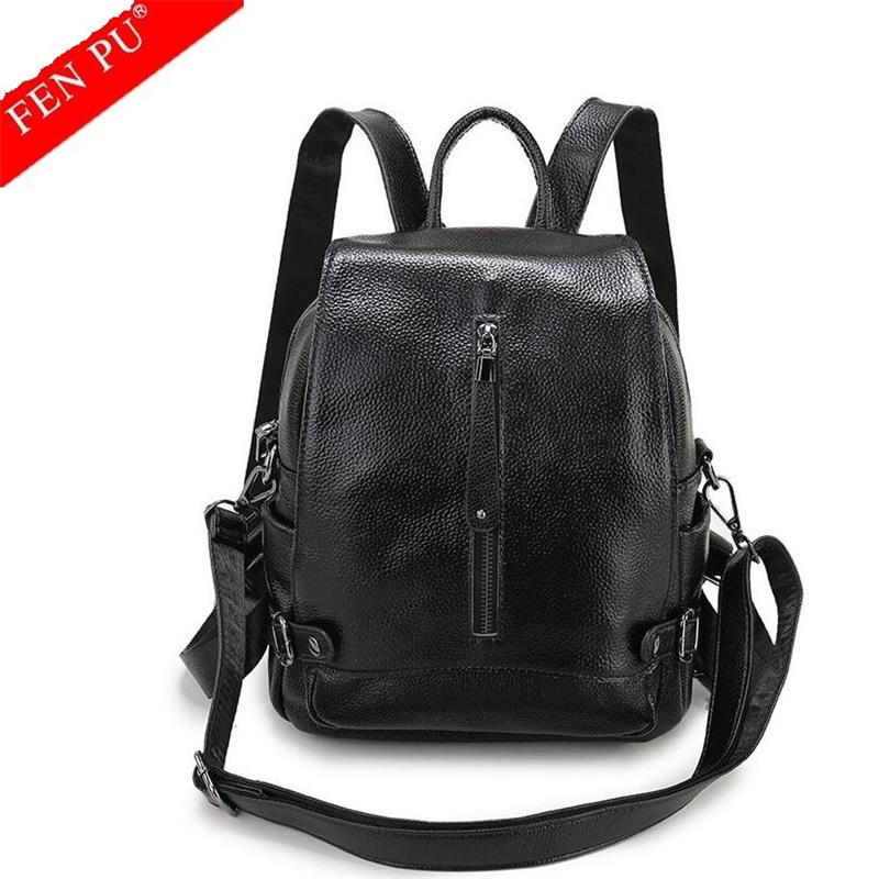 Famous Brand Women Backpack Cowhide Female Backpacks Solid Vintage Girls School Bags for Boys Genuine Leather Women Backpack