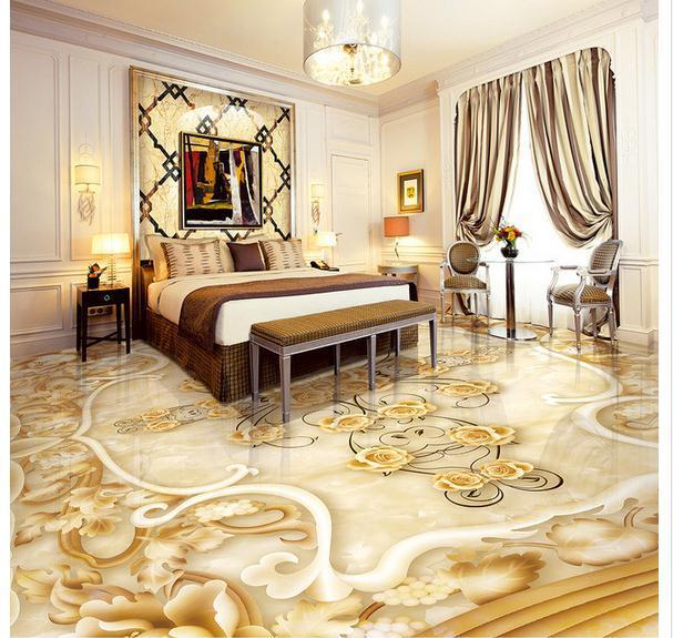 Stone Luxury Home Designs: 3D Wallpaper Custom Mural Beauty The 3 D Floor Tile Marble